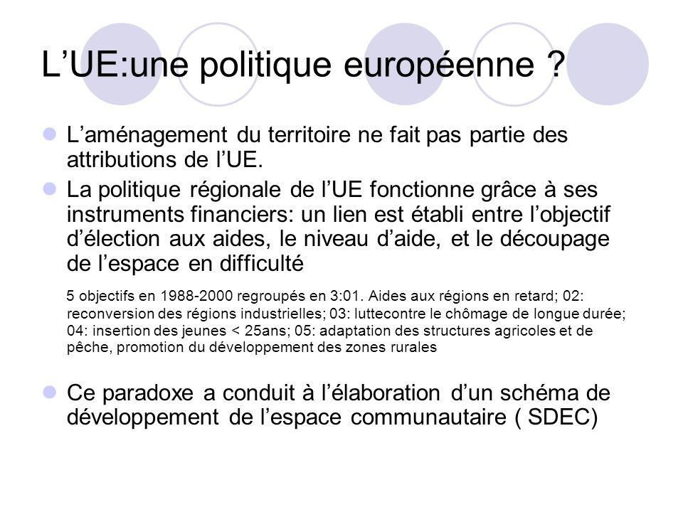 LUE:une politique européenne ? Laménagement du territoire ne fait pas partie des attributions de lUE. La politique régionale de lUE fonctionne grâce à