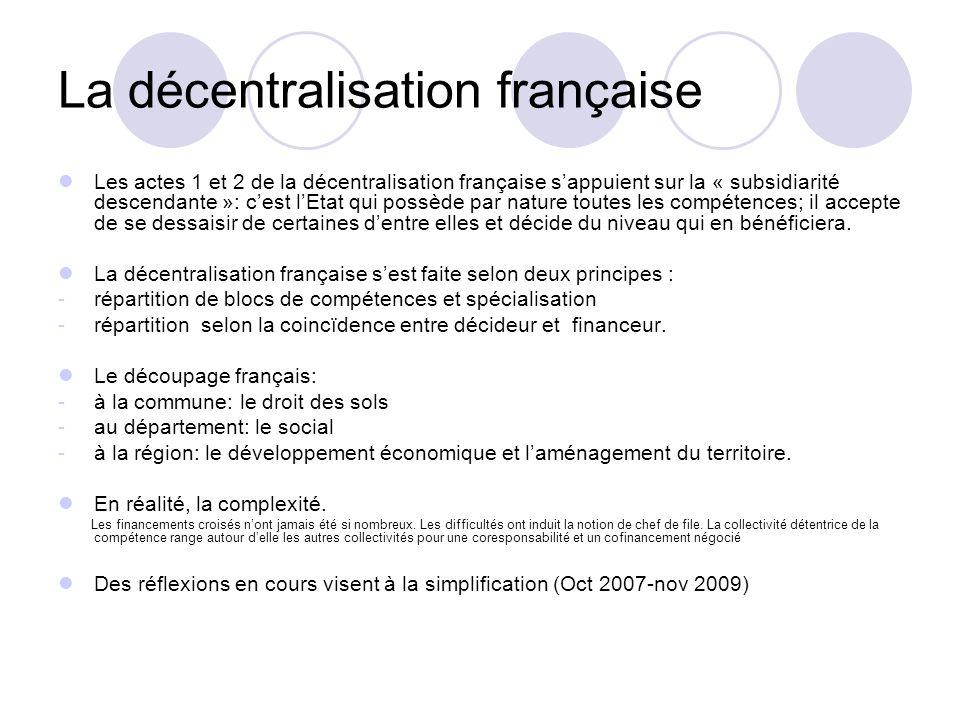 La décentralisation française Les actes 1 et 2 de la décentralisation française sappuient sur la « subsidiarité descendante »: cest lEtat qui possède