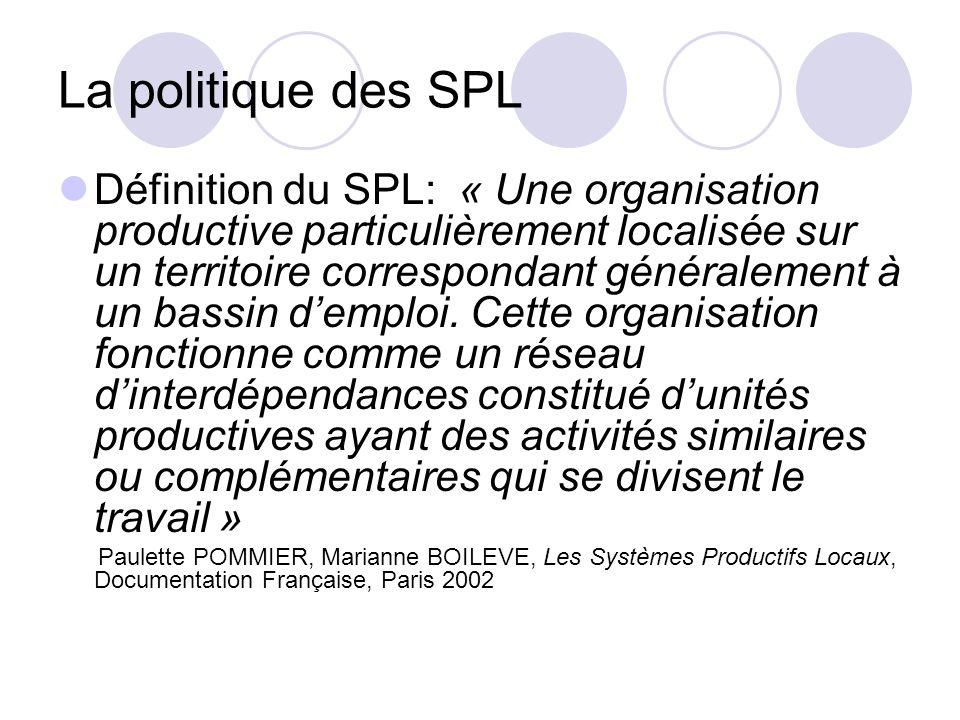 La politique des SPL Définition du SPL: « Une organisation productive particulièrement localisée sur un territoire correspondant généralement à un bas