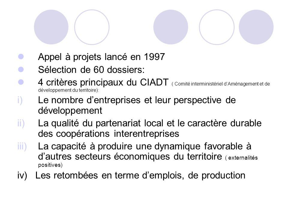 Appel à projets lancé en 1997 Sélection de 60 dossiers: 4 critères principaux du CIADT ( Comité interministériel dAménagement et de développement du t