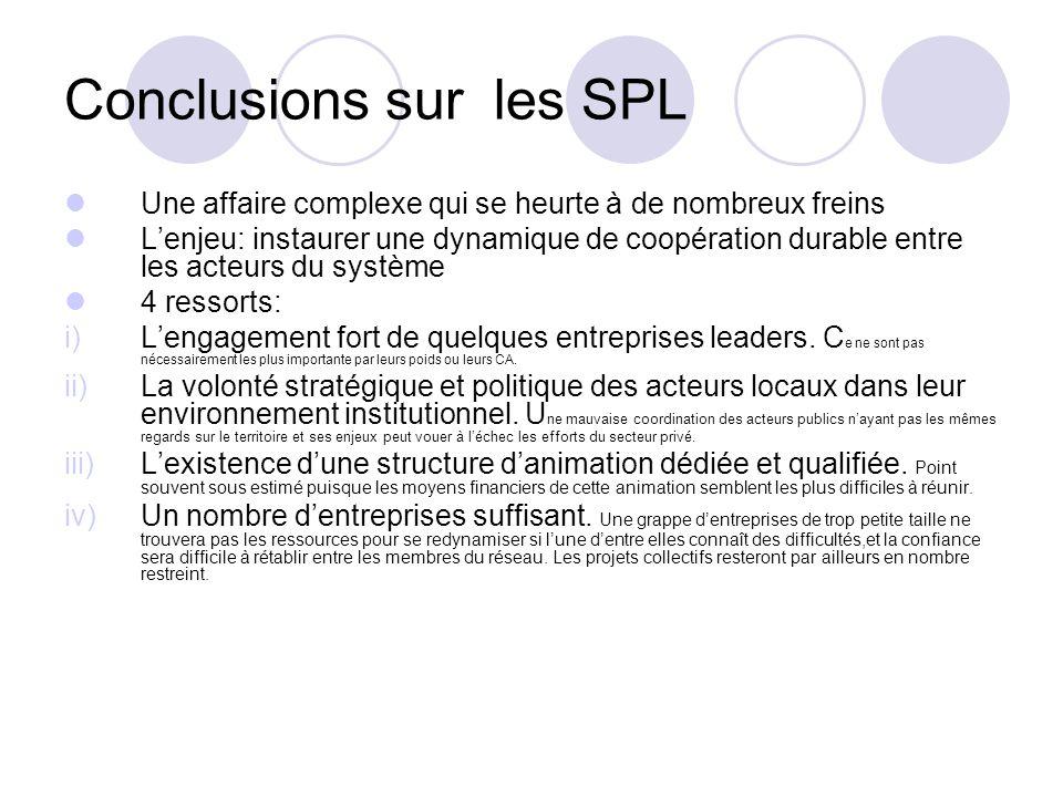 Conclusions sur les SPL Une affaire complexe qui se heurte à de nombreux freins Lenjeu: instaurer une dynamique de coopération durable entre les acteu