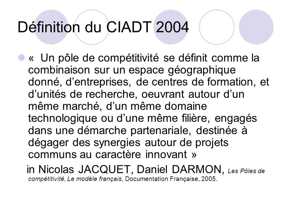 Définition du CIADT 2004 « Un pôle de compétitivité se définit comme la combinaison sur un espace géographique donné, dentreprises, de centres de form
