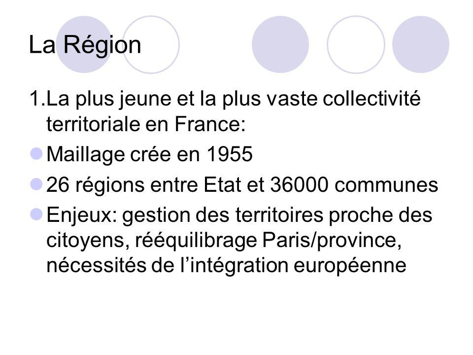 La Région 1.La plus jeune et la plus vaste collectivité territoriale en France: Maillage crée en 1955 26 régions entre Etat et 36000 communes Enjeux: