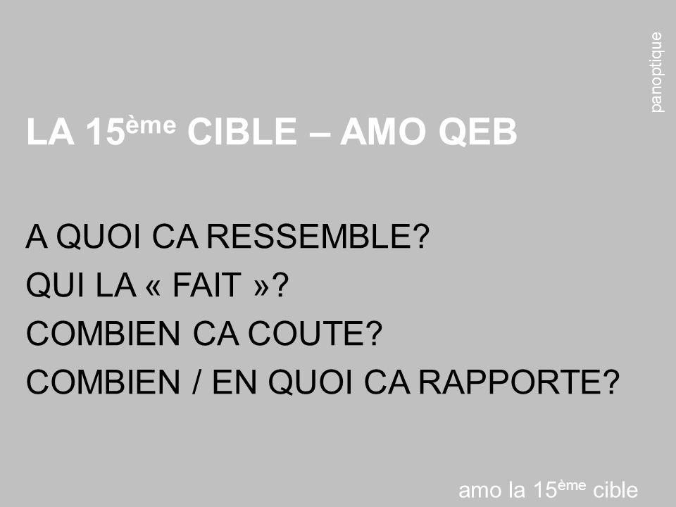 panoptique LA 15 ème CIBLE – AMO QEB A QUOI CA RESSEMBLE.