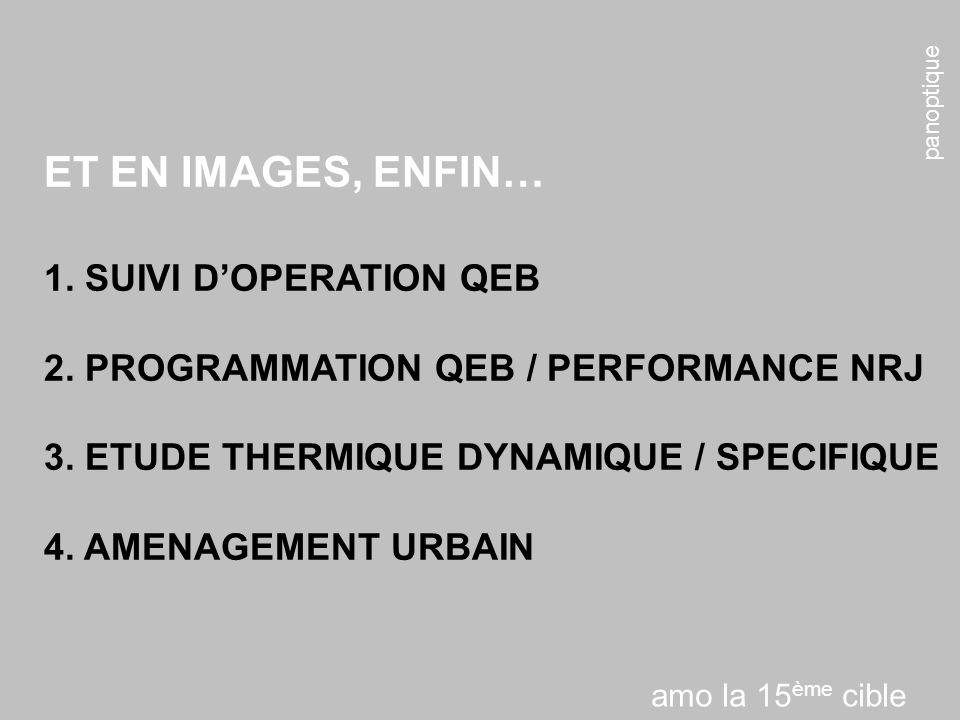 panoptique ET EN IMAGES, ENFIN… 1. SUIVI DOPERATION QEB 2. PROGRAMMATION QEB / PERFORMANCE NRJ 3. ETUDE THERMIQUE DYNAMIQUE / SPECIFIQUE 4. AMENAGEMEN