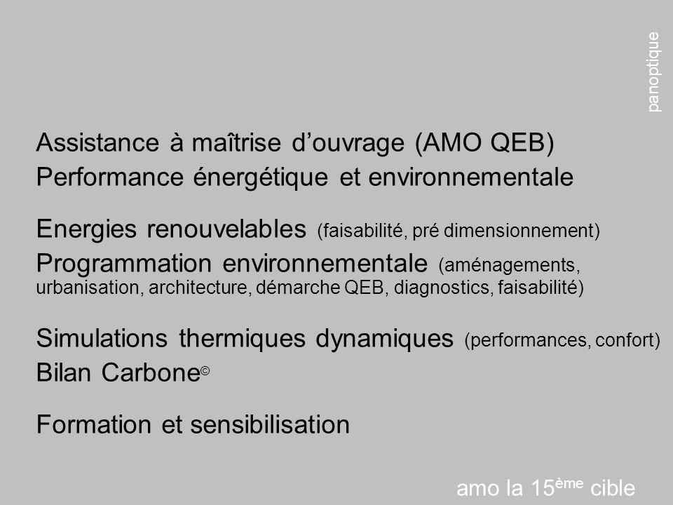 panoptique amo la 15 ème cible Assistance à maîtrise douvrage (AMO QEB) Performance énergétique et environnementale Energies renouvelables (faisabilité, pré dimensionnement) Programmation environnementale (aménagements, urbanisation, architecture, démarche QEB, diagnostics, faisabilité) Simulations thermiques dynamiques (performances, confort) Bilan Carbone © Formation et sensibilisation