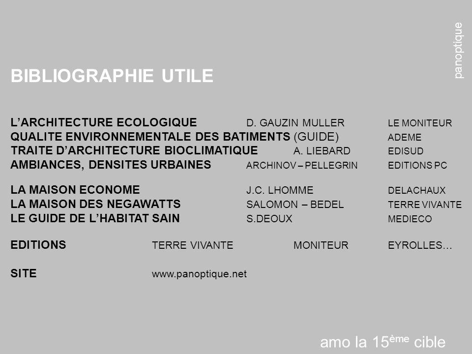 panoptique BIBLIOGRAPHIE UTILE LARCHITECTURE ECOLOGIQUE D. GAUZIN MULLER LE MONITEUR QUALITE ENVIRONNEMENTALE DES BATIMENTS (GUIDE) ADEME TRAITE DARCH