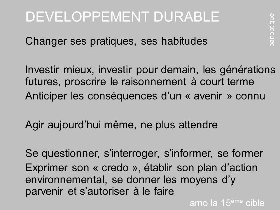 panoptique DEVELOPPEMENT DURABLE Changer ses pratiques, ses habitudes Investir mieux, investir pour demain, les générations futures, proscrire le rais