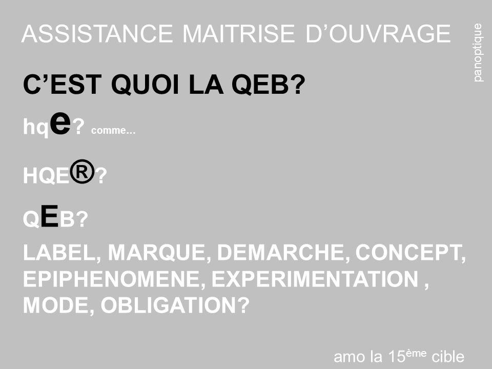 panoptique ASSISTANCE MAITRISE DOUVRAGE CEST QUOI LA QEB? hq e ? comme… HQE ® ? Q E B? LABEL, MARQUE, DEMARCHE, CONCEPT, EPIPHENOMENE, EXPERIMENTATION