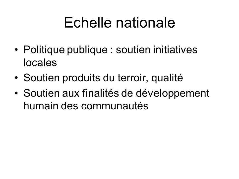 Echelle nationale Politique publique : soutien initiatives locales Soutien produits du terroir, qualité Soutien aux finalités de développement humain des communautés