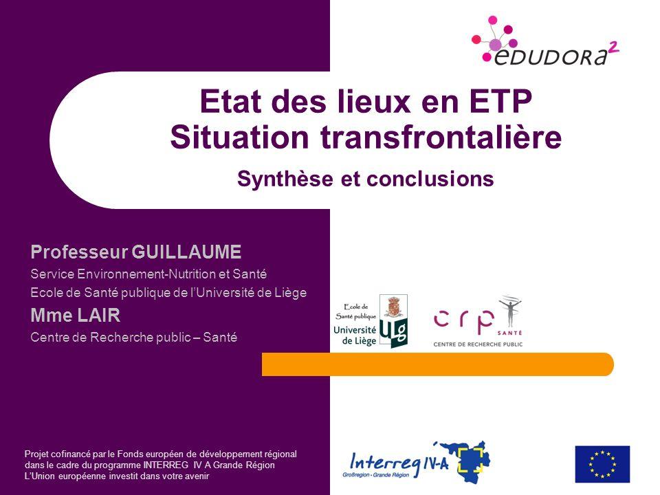 Projet cofinancé par le Fonds européen de développement régional dans le cadre du programme INTERREG IV A Grande Région LUnion européenne investit dan