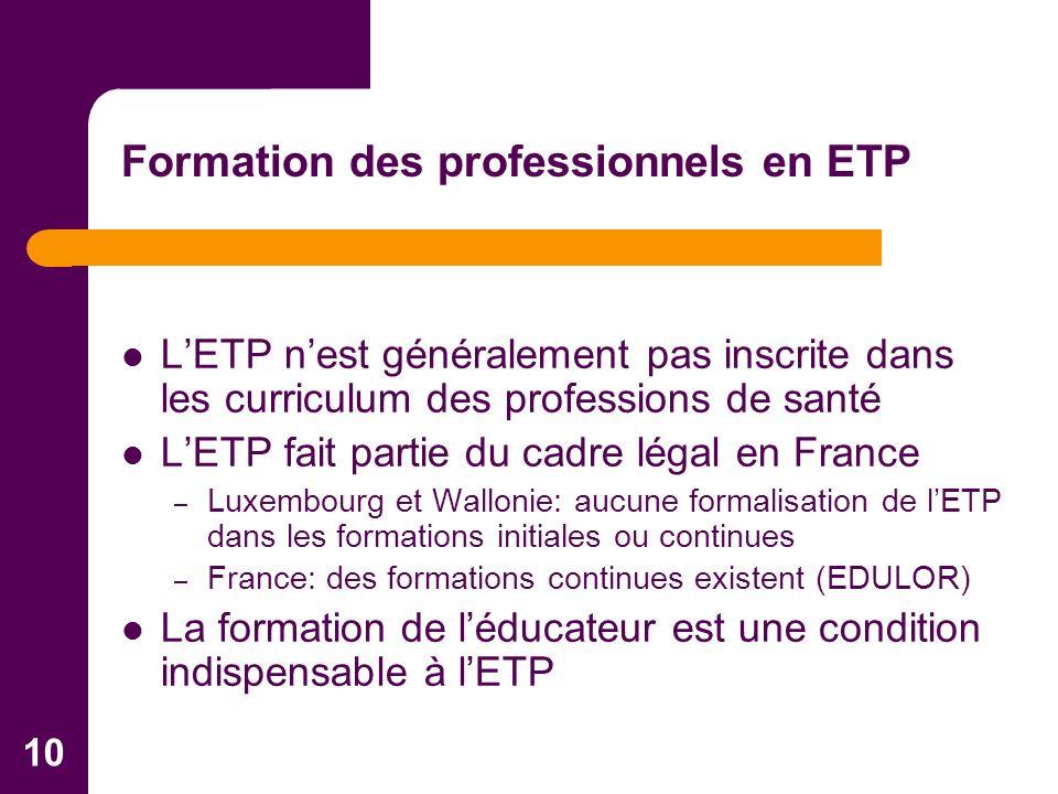 10 LETP nest généralement pas inscrite dans les curriculum des professions de santé LETP fait partie du cadre légal en France – Luxembourg et Wallonie: aucune formalisation de lETP dans les formations initiales ou continues – France: des formations continues existent (EDULOR) La formation de léducateur est une condition indispensable à lETP Formation des professionnels en ETP