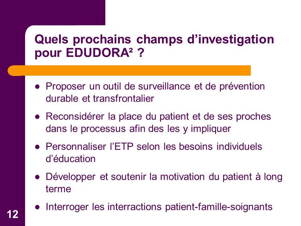 12 Proposer un outil de surveillance et de prévention durable et transfrontalier Reconsidérer la place du patient et de ses proches dans le processus