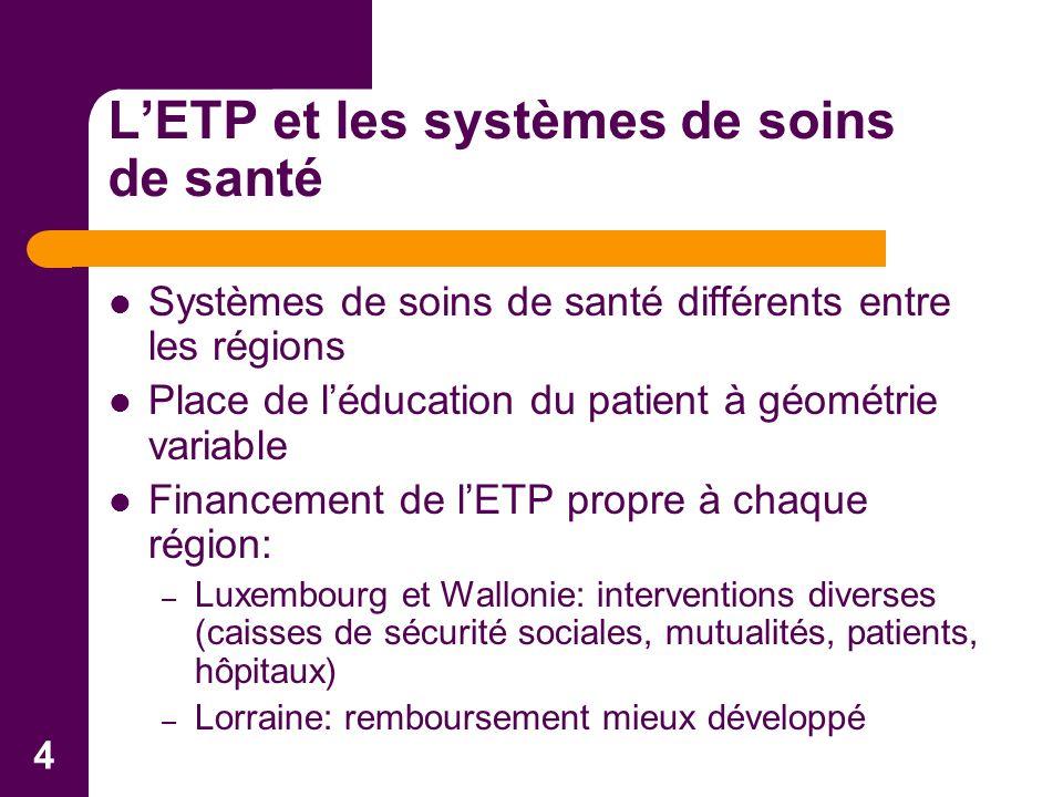 4 LETP et les systèmes de soins de santé Systèmes de soins de santé différents entre les régions Place de léducation du patient à géométrie variable F