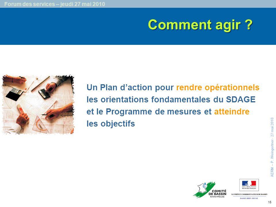 15 Forum des services – jeudi 27 mai 2010 Comment agir .