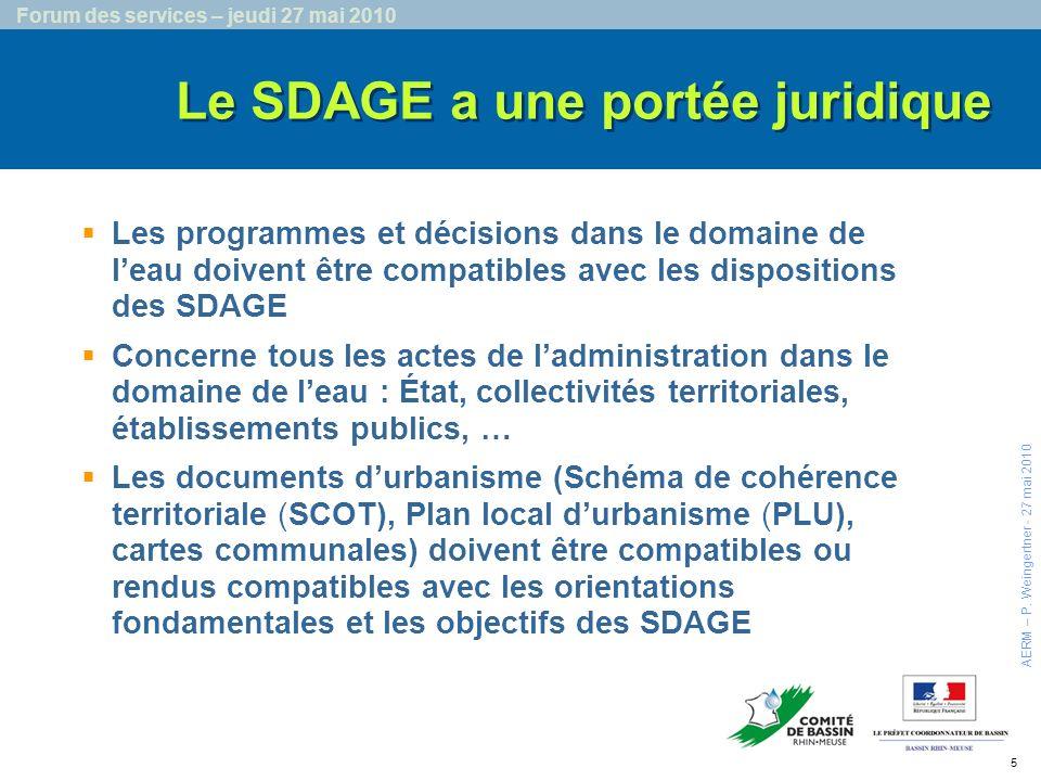 6 Forum des services – jeudi 27 mai 2010 Les objectifs détat fixés pour chaque masse deau et les objectifs de réduction des substances constituent des engagements environnementaux de la France vis-à-vis de la Commission européenne Lobligation de résultats AERM – P.