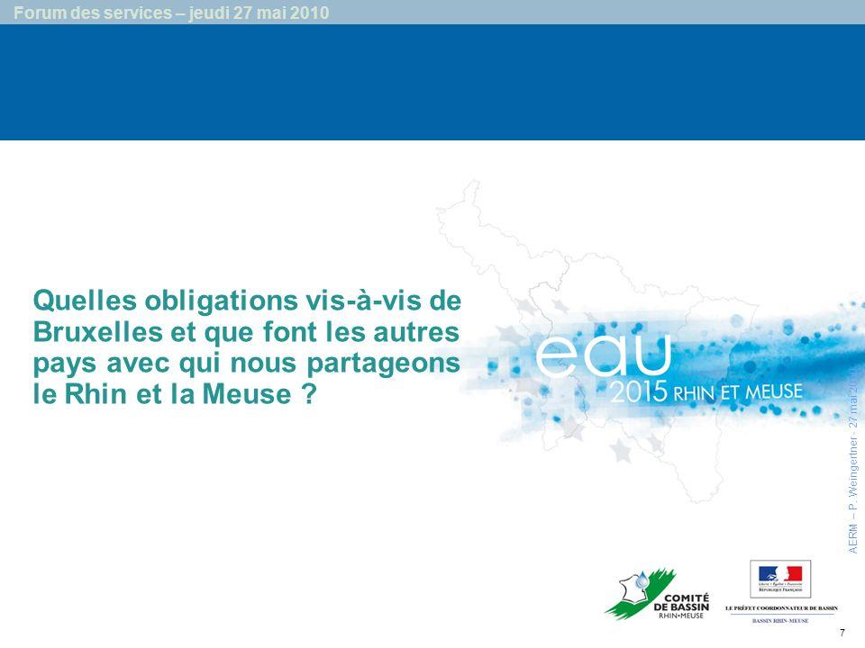 7 Forum des services – jeudi 27 mai 2010 Quelles obligations vis-à-vis de Bruxelles et que font les autres pays avec qui nous partageons le Rhin et la Meuse .