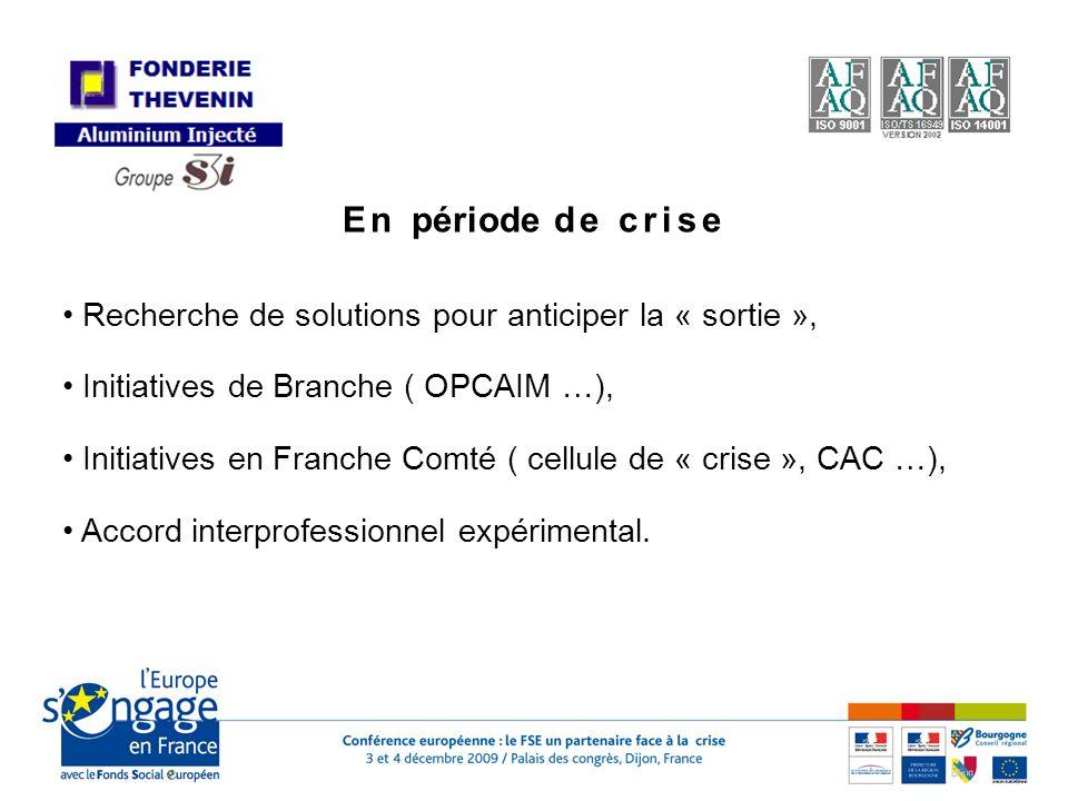 En période de crise Recherche de solutions pour anticiper la « sortie », Initiatives de Branche ( OPCAIM …), Initiatives en Franche Comté ( cellule de « crise », CAC …), Accord interprofessionnel expérimental.