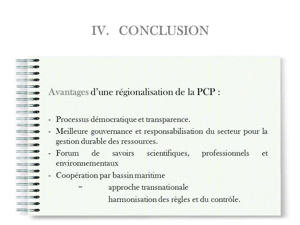IV. CONCLUSION Avantages dune régionalisation de la PCP : -Processus démocratique et transparence. -Meilleure gouvernance et responsabilisation du sec