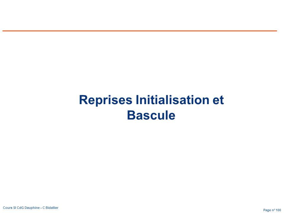 Page n° 100 Cours SI CdG Dauphine – C Bidallier Reprises Initialisation et Bascule