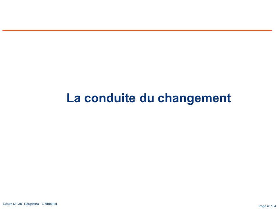 Page n° 104 Cours SI CdG Dauphine – C Bidallier La conduite du changement