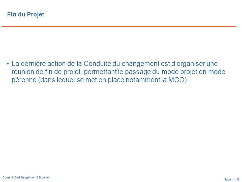 Page n° 117 Cours SI CdG Dauphine – C Bidallier Fin du Projet La dernière action de la Conduite du changement est dorganiser une réunion de fin de projet, permettant le passage du mode projet en mode pérenne (dans lequel se met en place notamment la MCO).