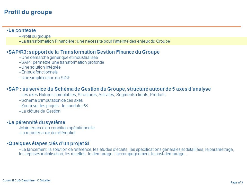 Page n° 64 Cours SI CdG Dauphine – C Bidallier Gestion des projets dexploitation