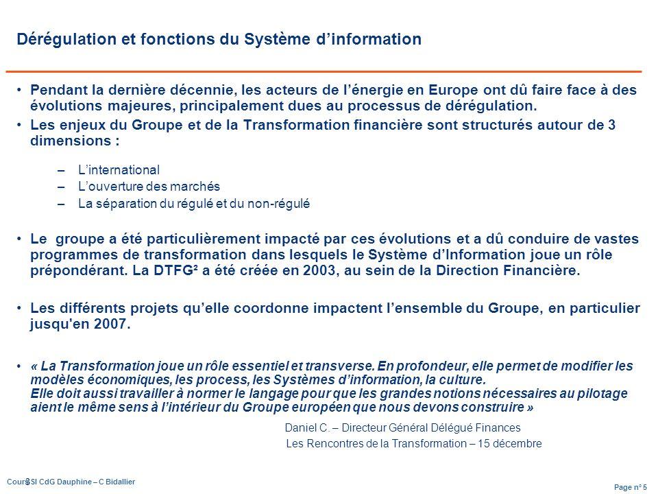 Page n° 5 Cours SI CdG Dauphine – C Bidallier 3 Dérégulation et fonctions du Système dinformation Pendant la dernière décennie, les acteurs de lénergie en Europe ont dû faire face à des évolutions majeures, principalement dues au processus de dérégulation.