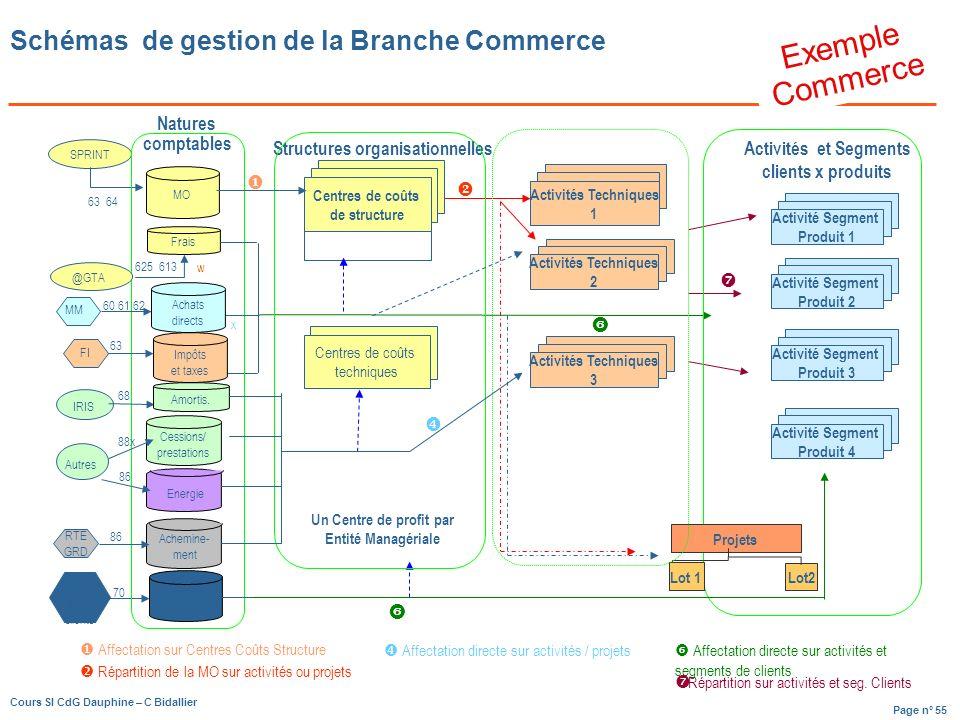 Page n° 55 Cours SI CdG Dauphine – C Bidallier Schémas de gestion de la Branche Commerce Exemple Commerce