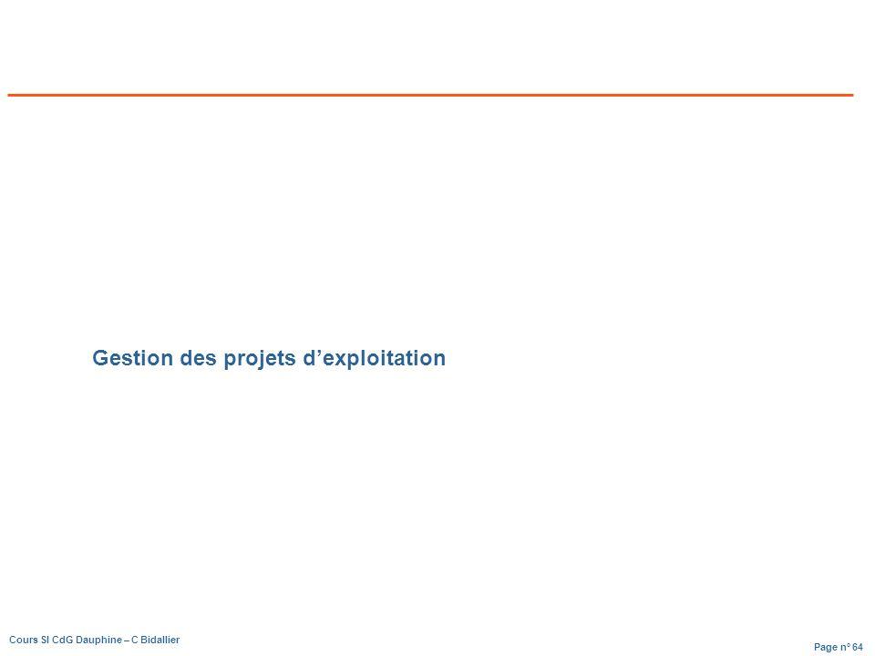 Page n° 64 Cours SI CdG Dauphine – C Bidallier Gestion des projets dexploitation