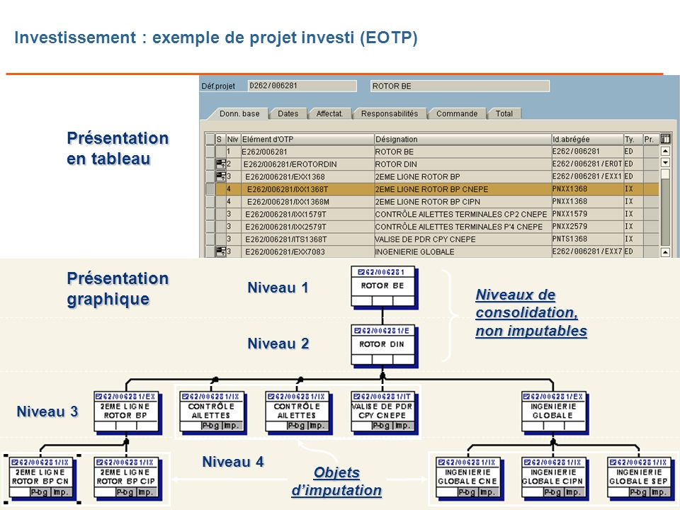 Page n° 66 Cours SI CdG Dauphine – C Bidallier Investissement : exemple de projet investi (EOTP) Présentation en tableau Présentation graphique Niveau 1 Niveau 2 Niveau 3 Niveau 4 Niveaux de consolidation, non imputables Objets dimputation