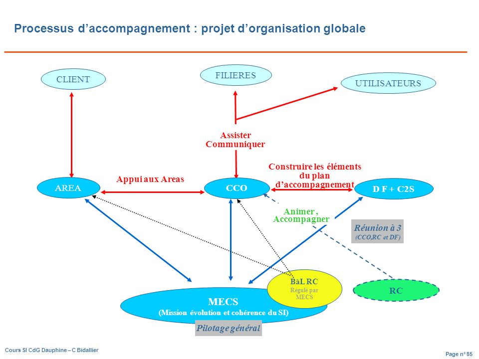 Page n° 85 Cours SI CdG Dauphine – C Bidallier Processus daccompagnement : projet dorganisation globale UTILISATEURS FILIERES CLIENT AREA CCO D F + C2