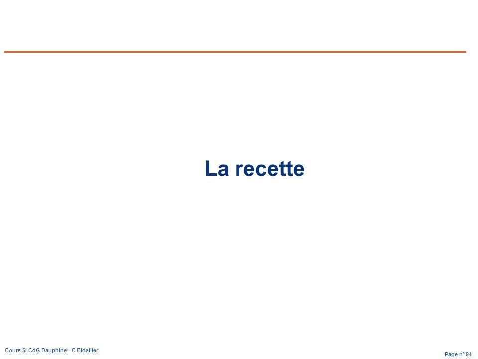 Page n° 94 Cours SI CdG Dauphine – C Bidallier La recette