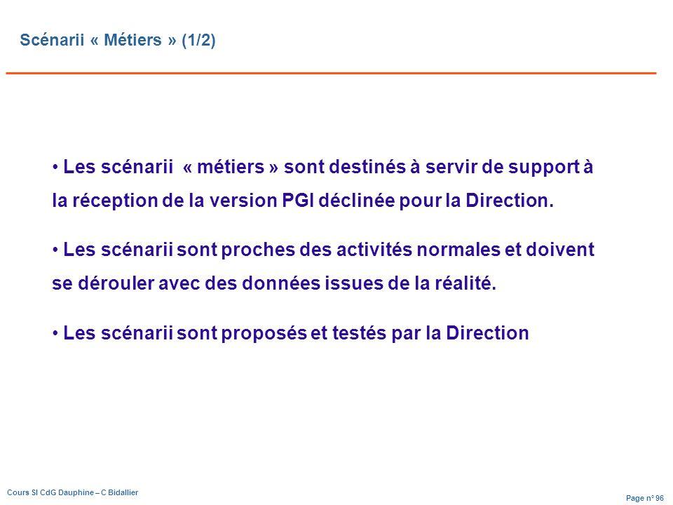 Page n° 96 Cours SI CdG Dauphine – C Bidallier Scénarii « Métiers » (1/2) Les scénarii « métiers » sont destinés à servir de support à la réception de la version PGI déclinée pour la Direction.