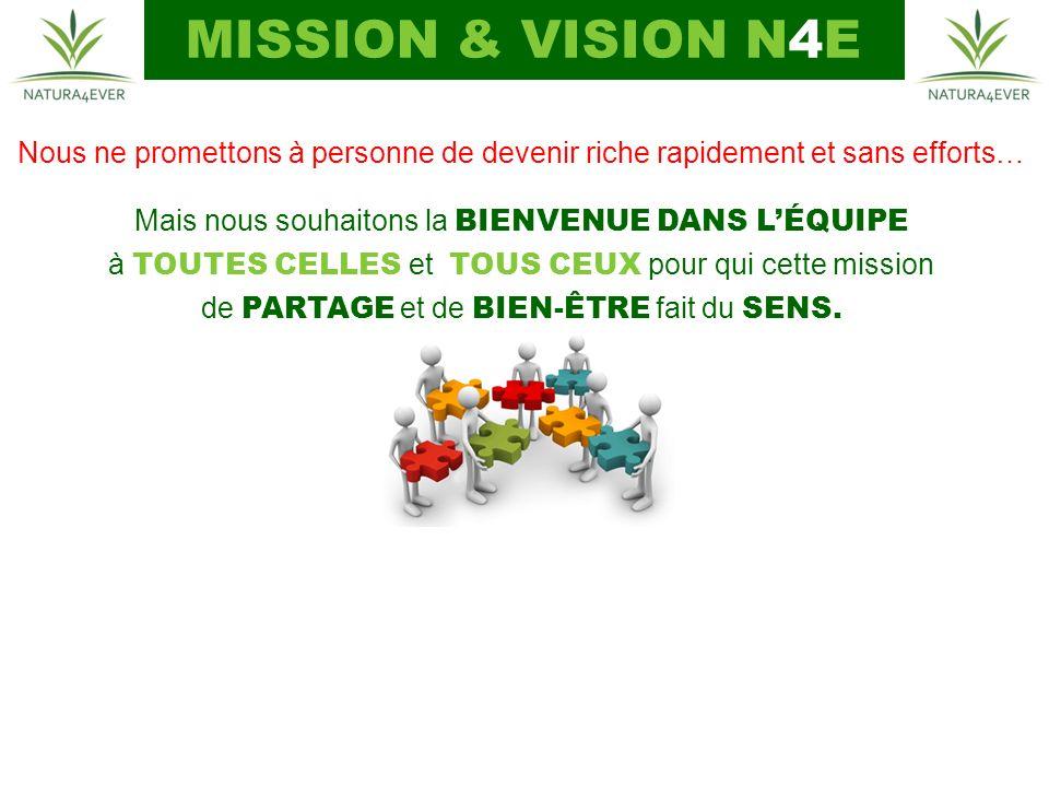 MISSION & VISION N4E Nous ne promettons à personne de devenir riche rapidement et sans efforts… Mais nous souhaitons la BIENVENUE DANS LÉQUIPE à TOUTES CELLES et TOUS CEUX pour qui cette mission de PARTAGE et de BIEN-ÊTRE fait du SENS.