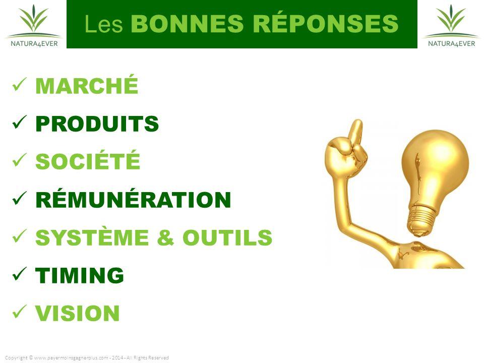 Les BONNES RÉPONSES MARCHÉ PRODUITS SOCIÉTÉ RÉMUNÉRATION SYSTÈME & OUTILS TIMING VISION Copyright © www.payermoinsgagnerplus.com - 2014 - All Rights Reserved