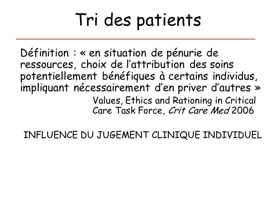 Tri des patients Définition : « en situation de pénurie de ressources, choix de lattribution des soins potentiellement bénéfiques à certains individus