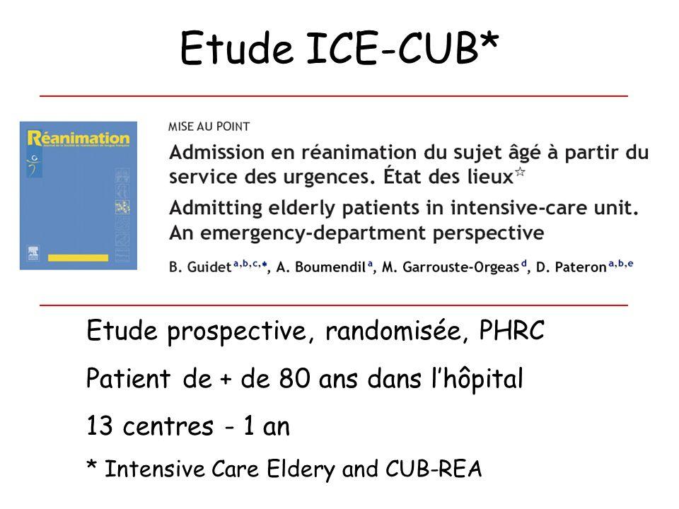 Etude ICE-CUB* Etude prospective, randomisée, PHRC Patient de + de 80 ans dans lhôpital 13 centres - 1 an * Intensive Care Eldery and CUB-REA