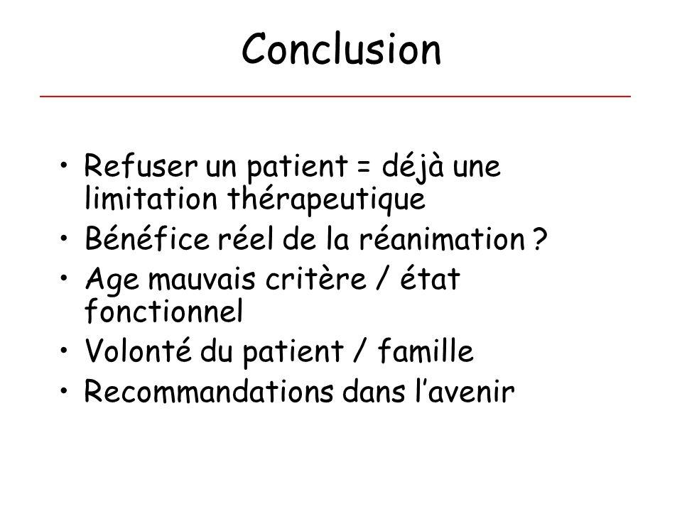 Conclusion Refuser un patient = déjà une limitation thérapeutique Bénéfice réel de la réanimation ? Age mauvais critère / état fonctionnel Volonté du