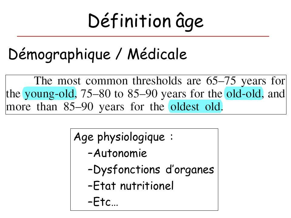 Définition âge Démographique / Médicale Age physiologique : –Autonomie –Dysfonctions dorganes –Etat nutritionel –Etc…