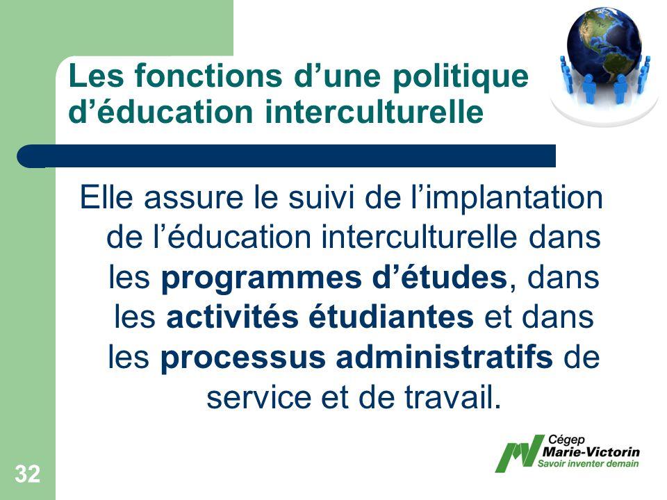 Elle assure le suivi de limplantation de léducation interculturelle dans les programmes détudes, dans les activités étudiantes et dans les processus administratifs de service et de travail.