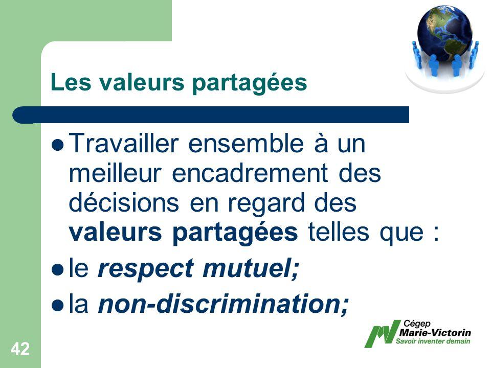 Travailler ensemble à un meilleur encadrement des décisions en regard des valeurs partagées telles que : le respect mutuel; la non-discrimination; Les valeurs partagées 42