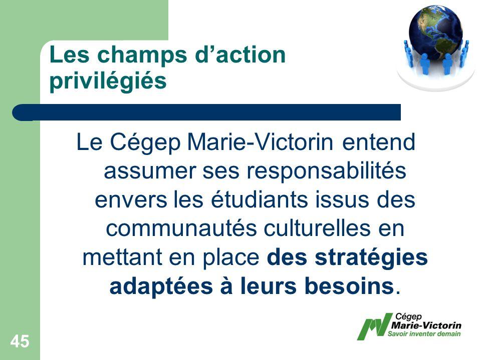 Le Cégep Marie-Victorin entend assumer ses responsabilités envers les étudiants issus des communautés culturelles en mettant en place des stratégies adaptées à leurs besoins.