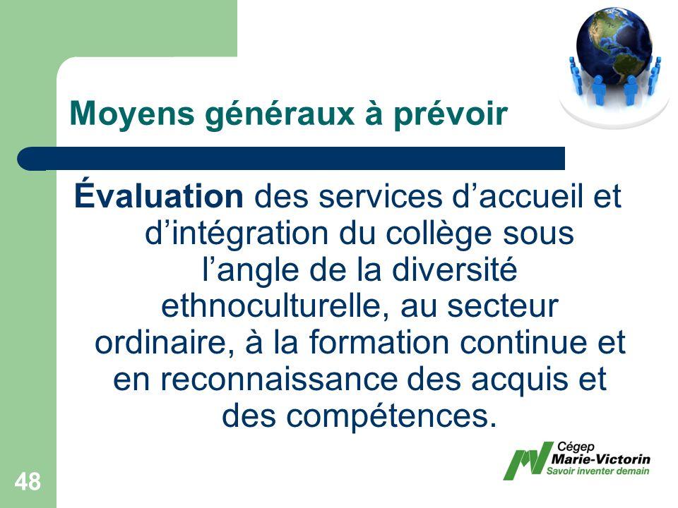 Évaluation des services daccueil et dintégration du collège sous langle de la diversité ethnoculturelle, au secteur ordinaire, à la formation continue et en reconnaissance des acquis et des compétences.