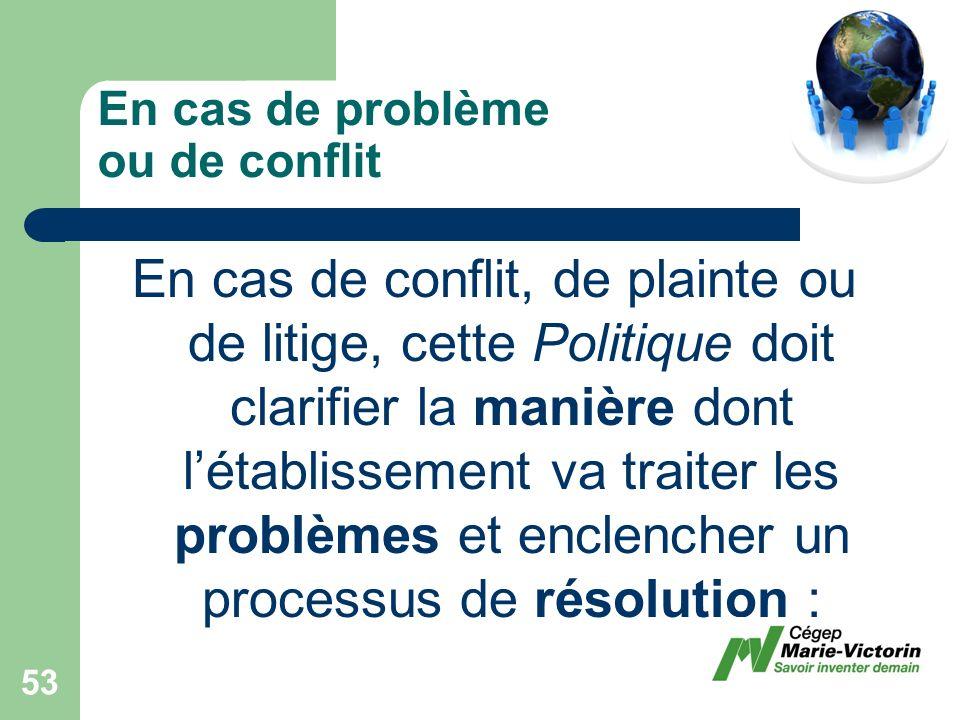 En cas de conflit, de plainte ou de litige, cette Politique doit clarifier la manière dont létablissement va traiter les problèmes et enclencher un processus de résolution : En cas de problème ou de conflit 53