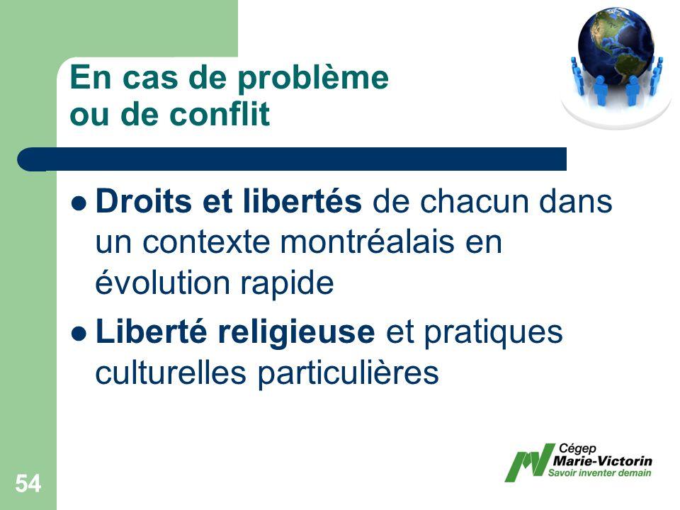 Droits et libertés de chacun dans un contexte montréalais en évolution rapide Liberté religieuse et pratiques culturelles particulières En cas de problème ou de conflit 54