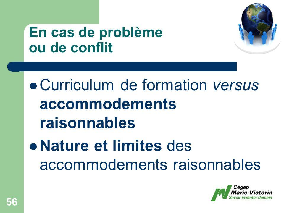 Curriculum de formation versus accommodements raisonnables Nature et limites des accommodements raisonnables En cas de problème ou de conflit 56