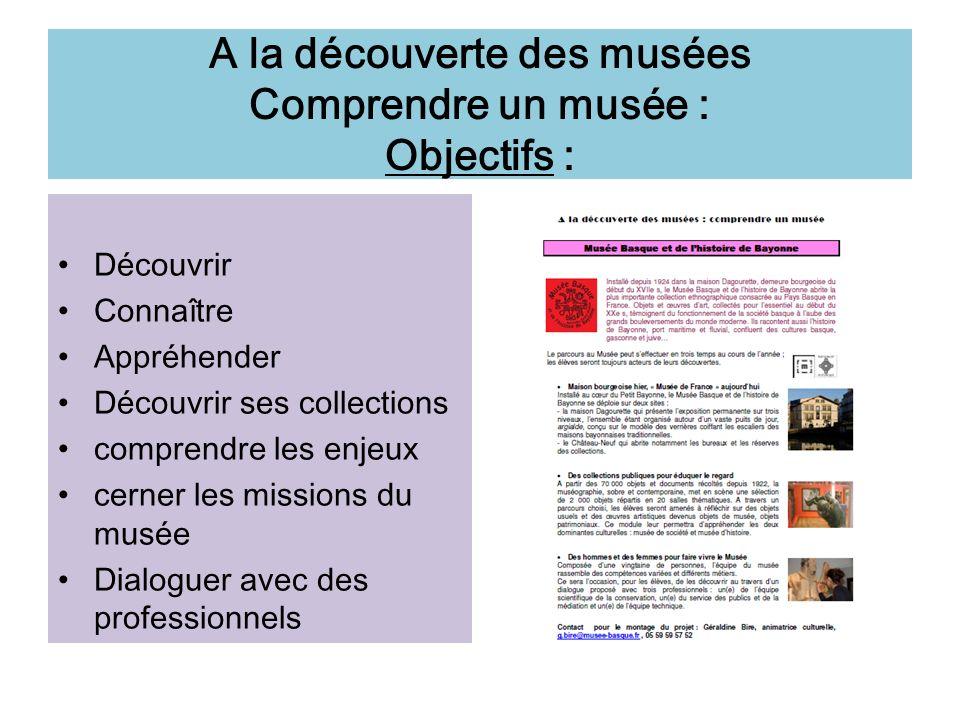 A la découverte des musées Comprendre un musée : Objectifs : Découvrir Connaître Appréhender Découvrir ses collections comprendre les enjeux cerner le