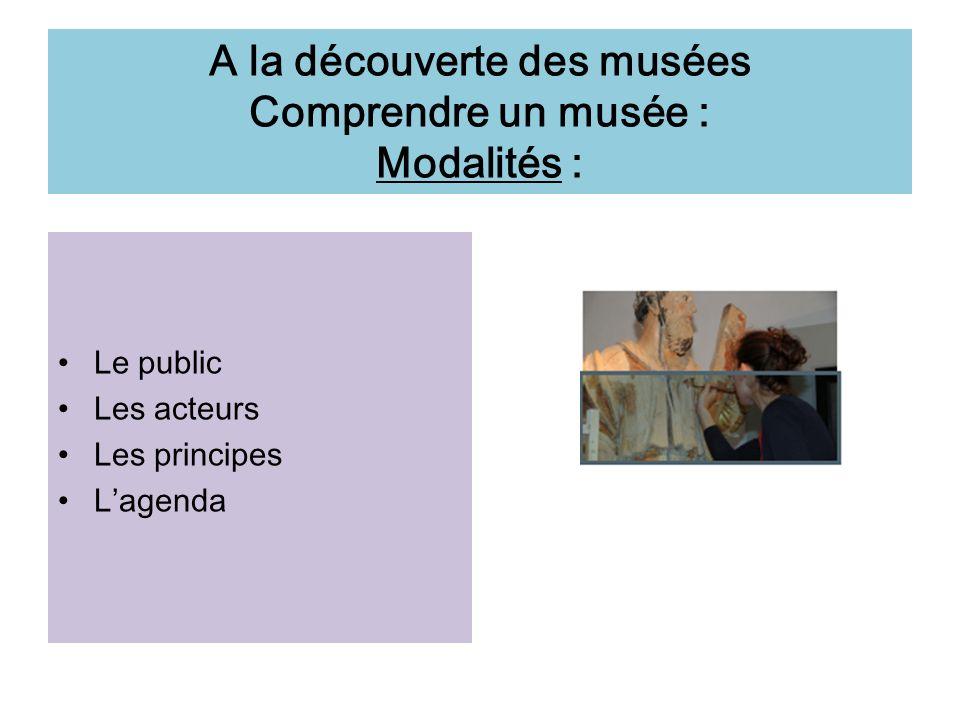 A la découverte des musées Comprendre un musée : Modalités : Le public Les acteurs Les principes Lagenda