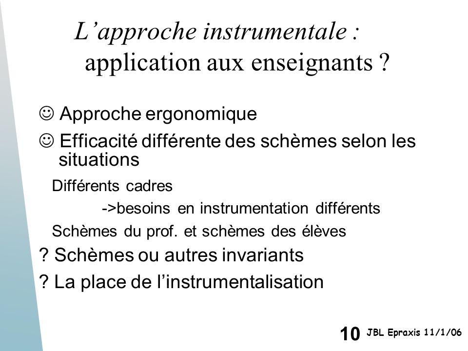10 JBL Epraxis 11/1/06 Lapproche instrumentale : application aux enseignants ? Approche ergonomique Efficacité différente des schèmes selon les situat